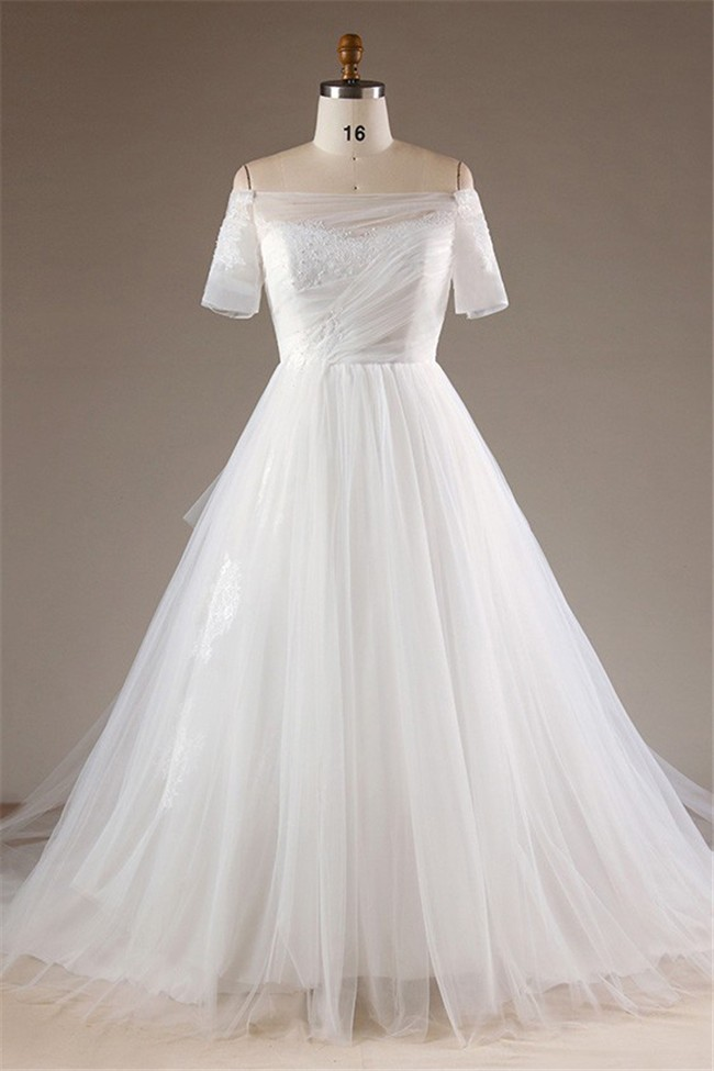 Ball Gown Off The Shoulder Short Sleeve Tulle Plus Size Wedding Dress  Chapel Train