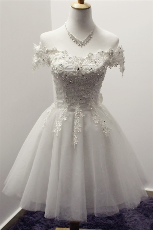 authentic quality wide range uk availability Ball Gown Off The Shoulder Short White Tulle Lace Prom Dress With Bow