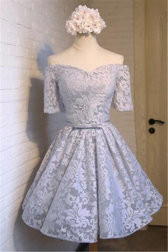 Ball Gown Off The Shoulder Silver Lace Short Prom Dress With Sleeves