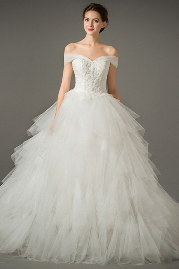 Ball Gown Off The Shoulder Tulle Ruffle Layered Wedding Dress Chapel Train