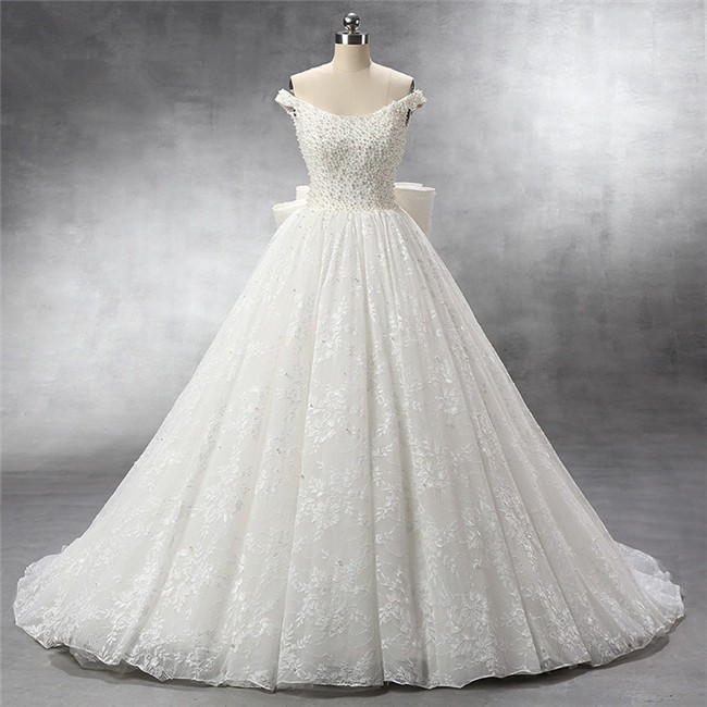 4ea380ed6fb0b Ball Gown Off The Shoulder Vintage Lace Pearl Beaded Wedding Dress With Bow