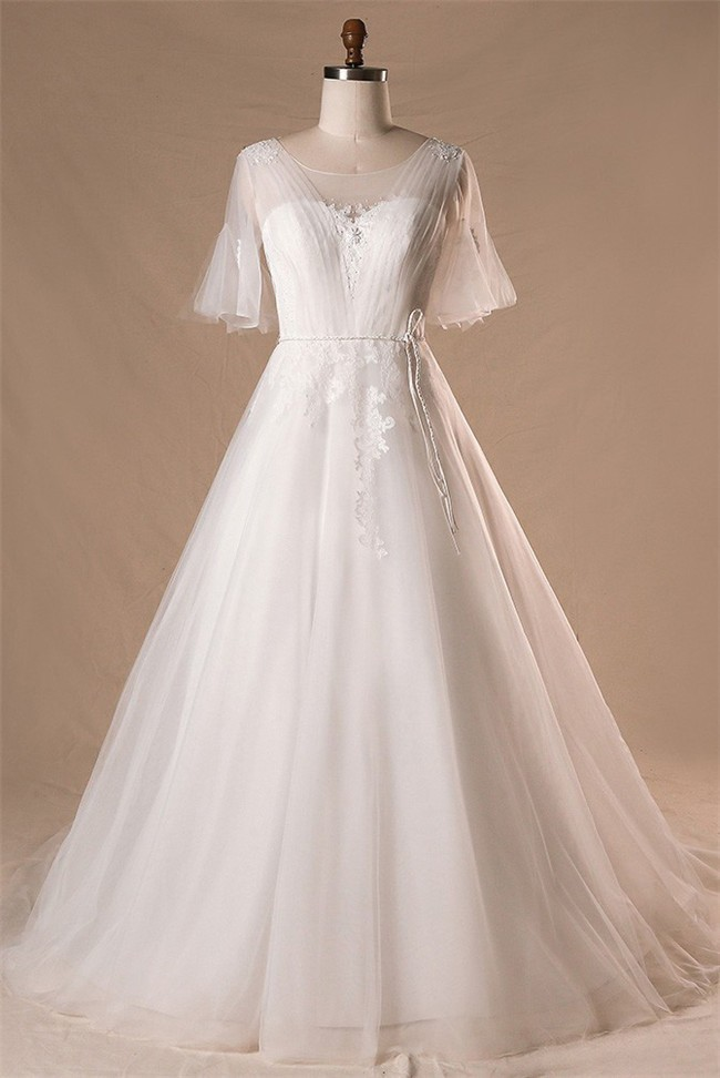 Ball Gown Scoop Neck Corset Back Tulle Sleeve Plus Size Wedding Dress With  Belt