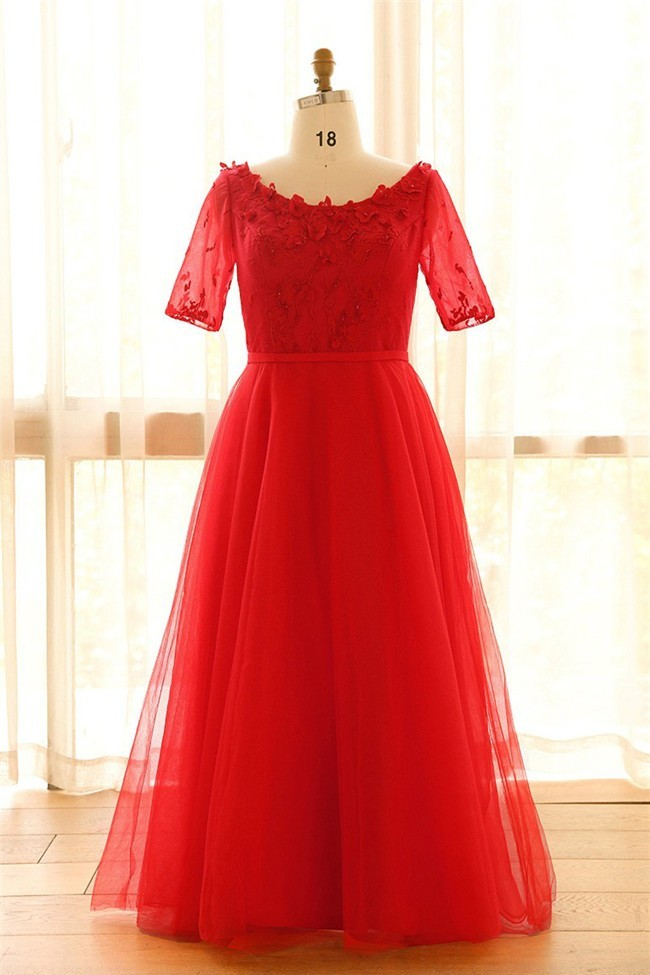 Ball Gown Scoop Neck Corset Red Tulle Lace Plus Size Prom Dress With Sleeves