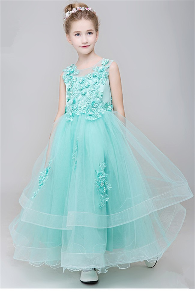 Ball Gown Scoop Neck Mint Green Tulle Applique Flower Girl