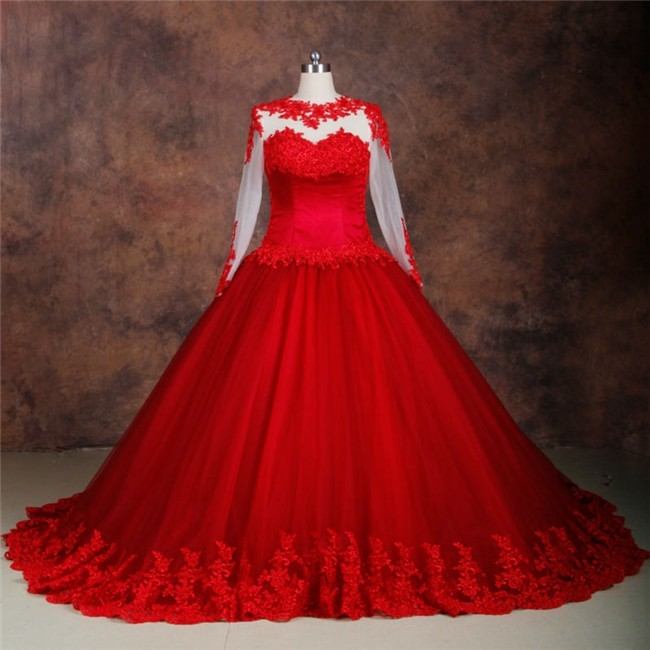 Ball Gown See Through Long Sleeve Red Tulle Lace Plus Size Wedding Dress