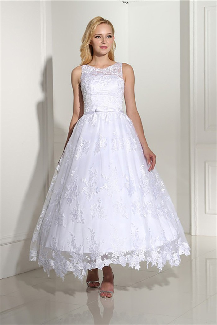 Ball Gown Sleeveless Tea Length Lace Wedding Dress With Bow Belt