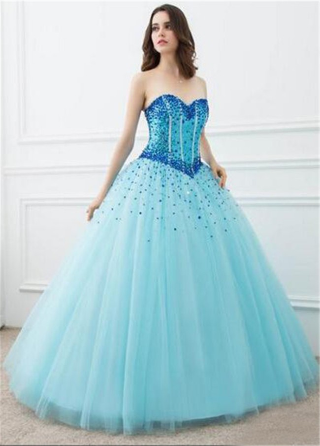 Ball Gown Strapless Light Blue Tulle Beaded Prom Dress Corset Back