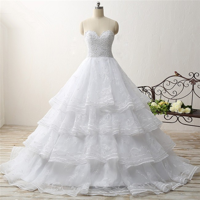 tiered wedding dress gown strapless organza ruffle embroidery tiered 7997