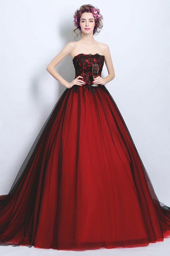 Red Wedding Dresses.Ball Gown Strapless Tulle Lace Black And Red Gothic Wedding Dress Cathedral Train