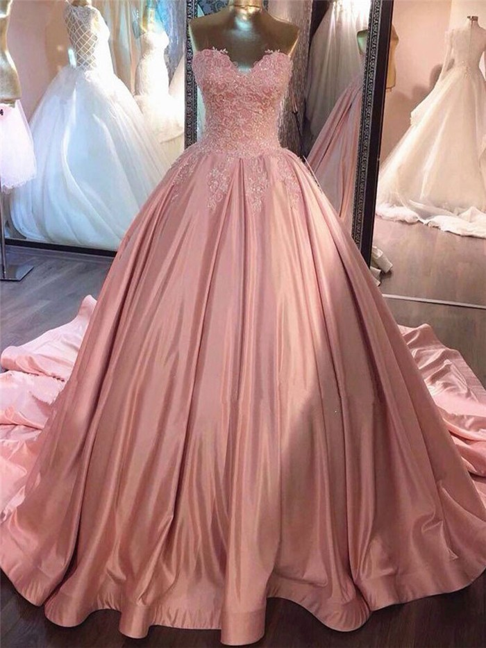 Ball Gown Sweetheart Blush Pink Lace