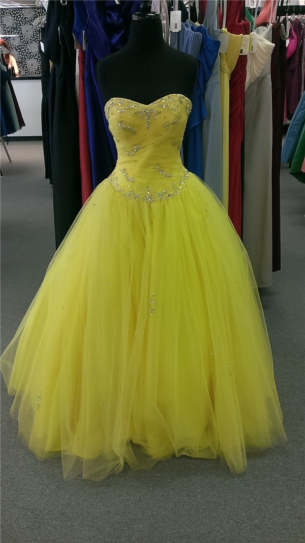 Ball Gown Sweetheart Corset Back Yellow Tulle