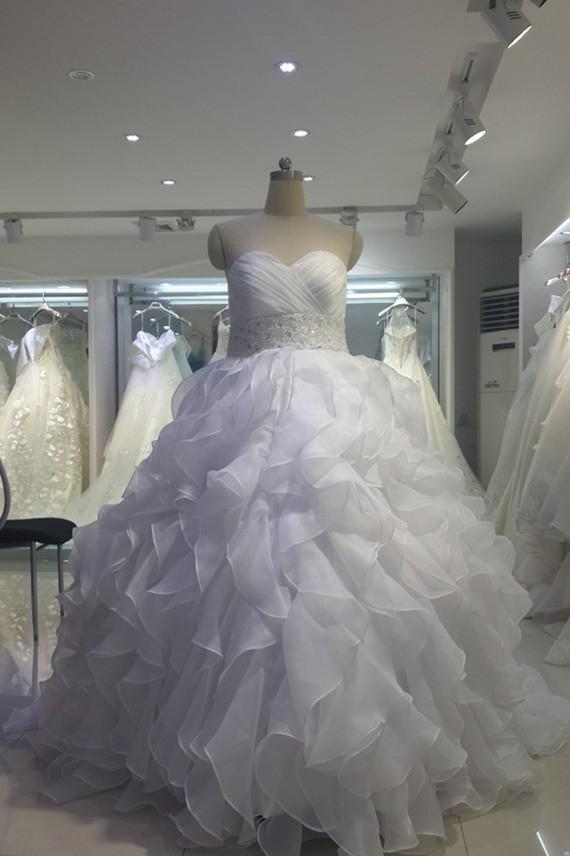 Ball Gown Sweetheart Corset Organza Ruffle Plus Size Wedding Dress Court  Train