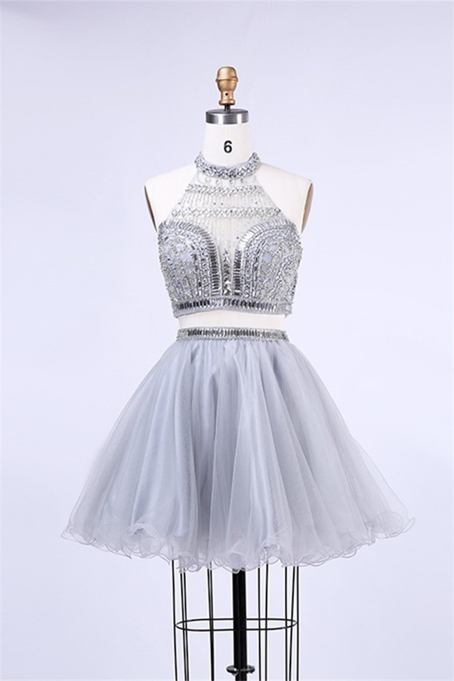 choose newest best value super cheap Ball Halter Two Piece Short Silver Tulle Beaded Cocktail Prom Dress