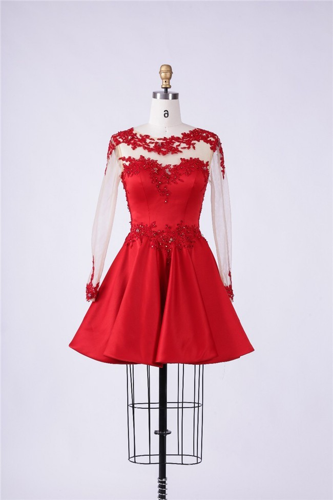 Ball Sheer Tulle Sleeve Short Red Satin Lace Beaded Prom Dress
