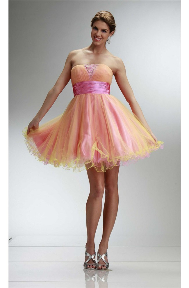 abf65581b Ball Strapless Short Pink And Yellow Tulle Beaded Cocktail Prom Dress