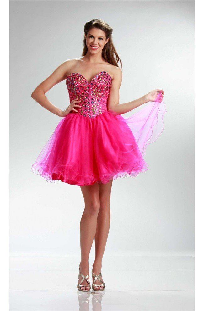 look good shoes sale fashionable style top-rated quality Ball Sweetheart Short Hot Pink Tulle Beaded Cocktail Prom Dress