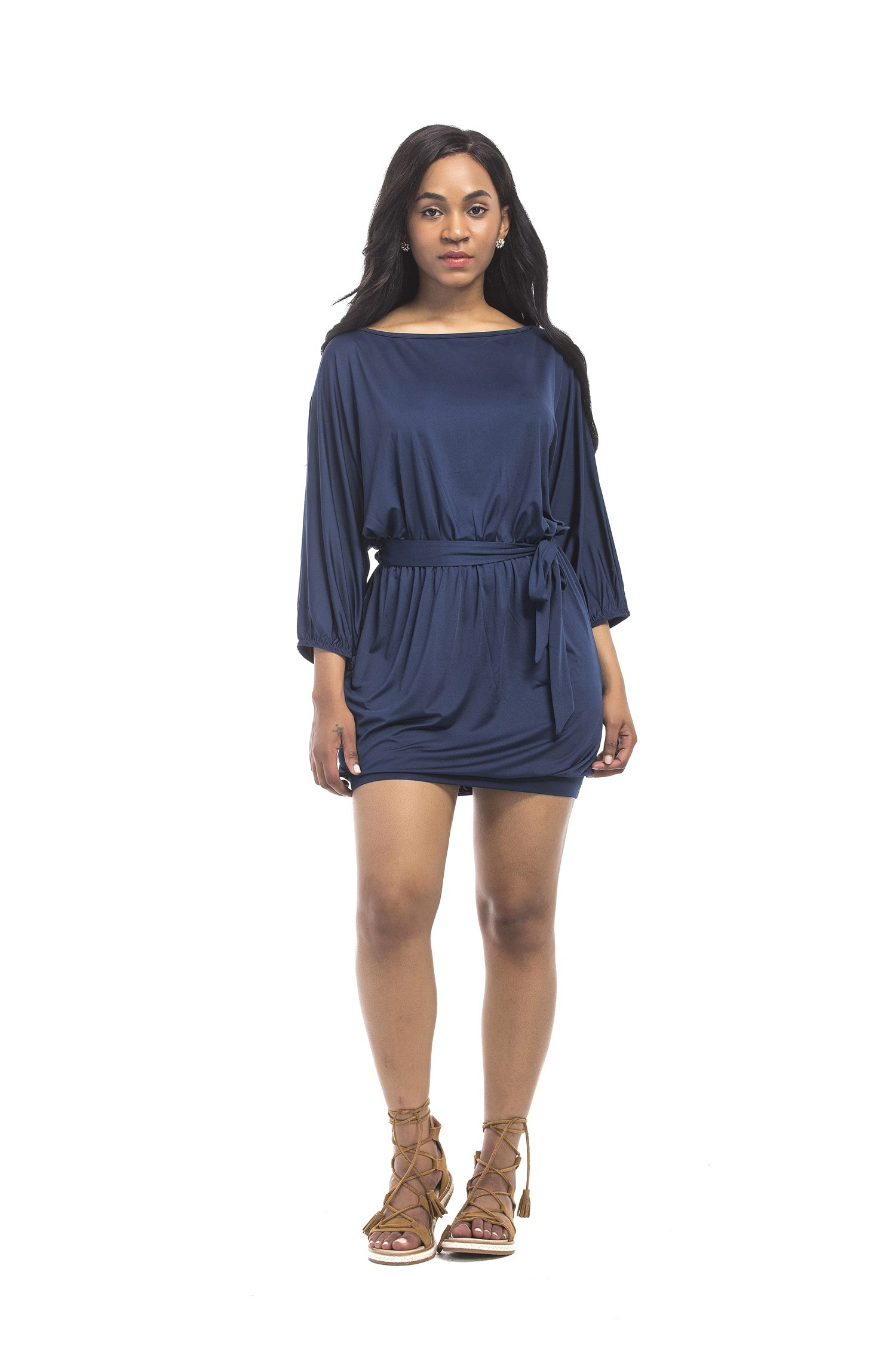 Bateau Neckline Short Mini Navy Jersey Plus Size Dress With Sleeves Sash
