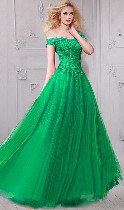 5bfde890499 Beautiful A Line Off The Shoulder Long Emerald Green Tulle Lace Prom Dress