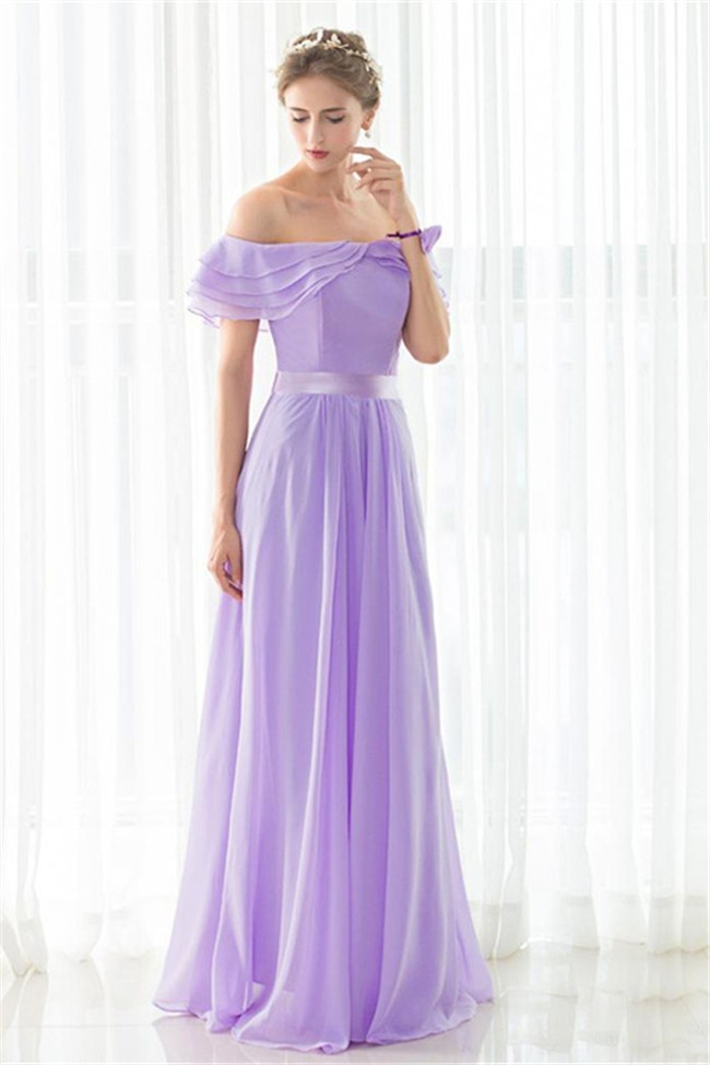 Beautiful Off The Shoulder Long Lilac Chiffon Evening Prom