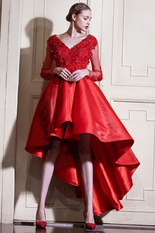 Casual V Neck Long Sleeve High Low Red Lace Satin Colored Wedding Dress