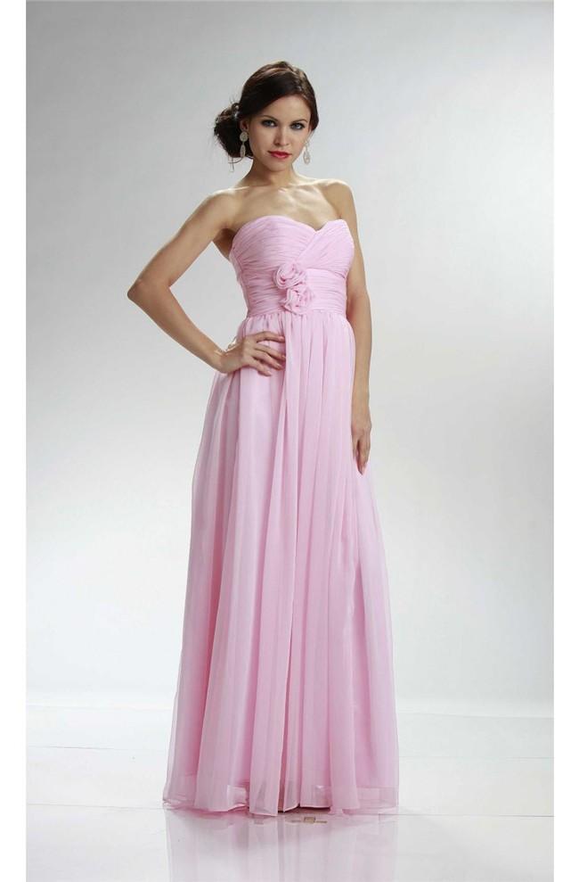 Charming Empire Waist Long Light Pink Chiffon Bridesmaid Dress With Flowers