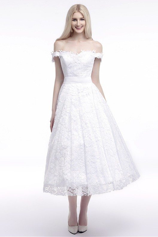 Charming Off The Shoulder Tea Length Summer Beach Wedding Party Lace Dress