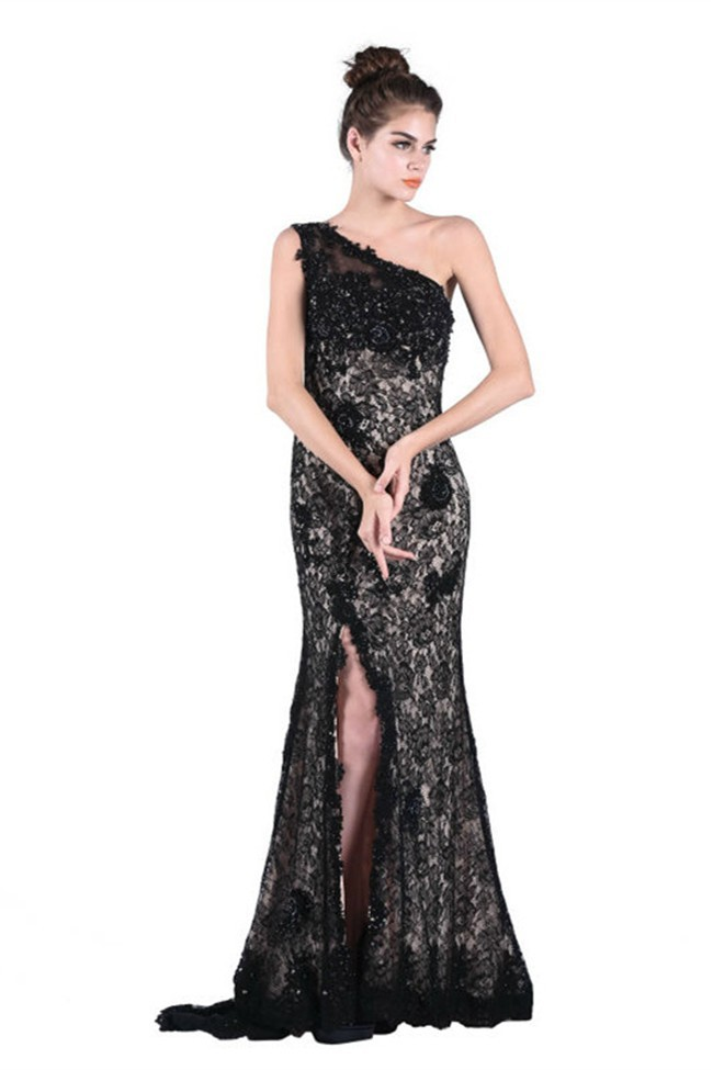 Chic One Shoulder High Slit Long Black Lace Beaded Prom Dress