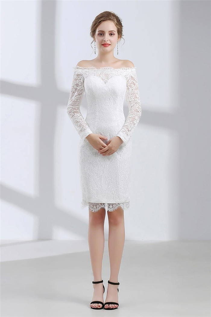 Column Off The Shoulder Long Sleeve Knee Length Lace Destination Wedding Dress