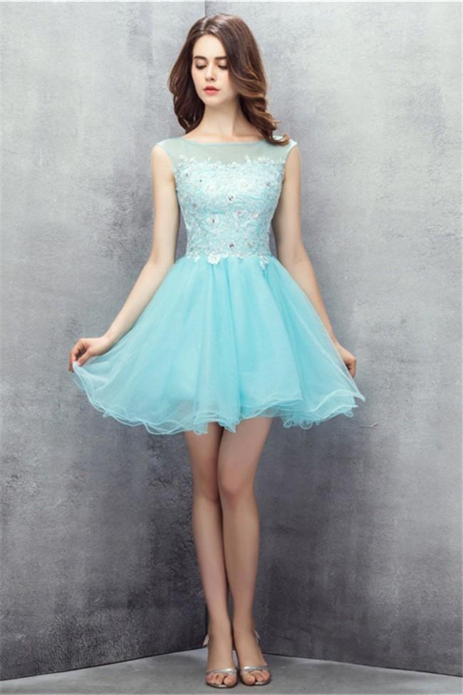 Aqua Short Prom Dresses