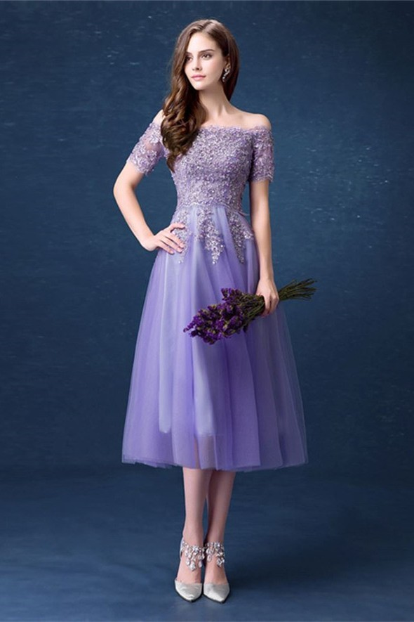 Cute Off The Shoulder Tea Length Lavender Tulle Lace Beaded Prom Dress With Short Sleeves
