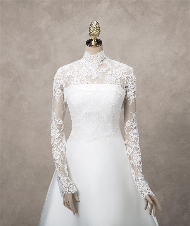 Elegant High Neck Long Sleeve Vintage Lace Wedding Bridal Jacket
