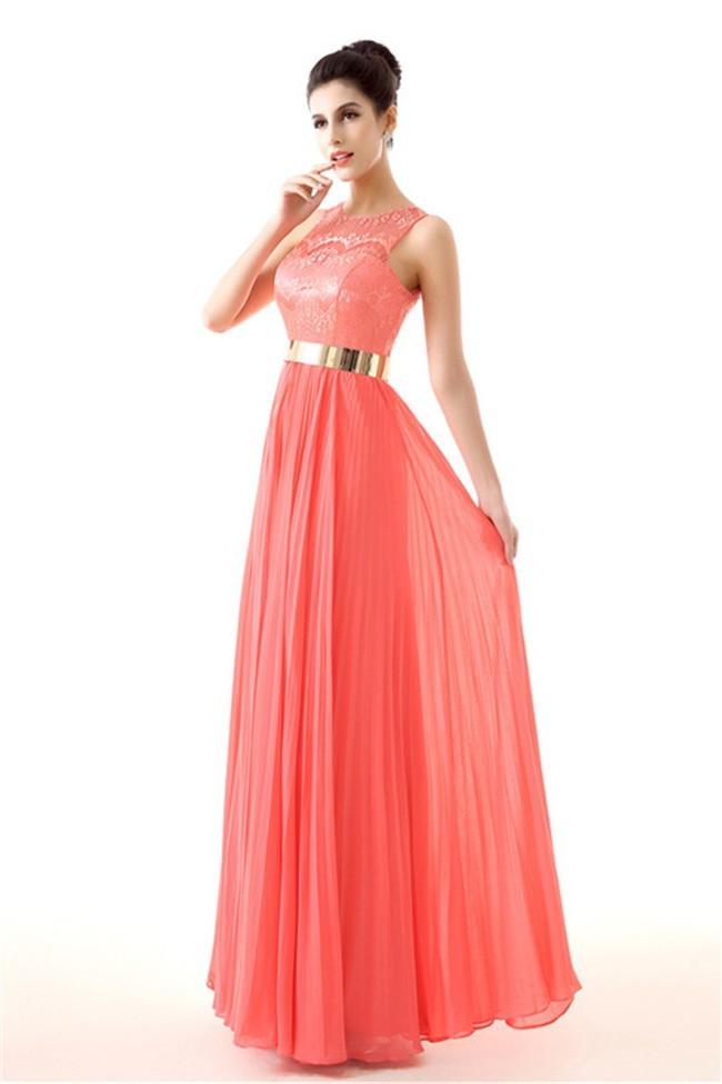 Coral lace chiffon dress