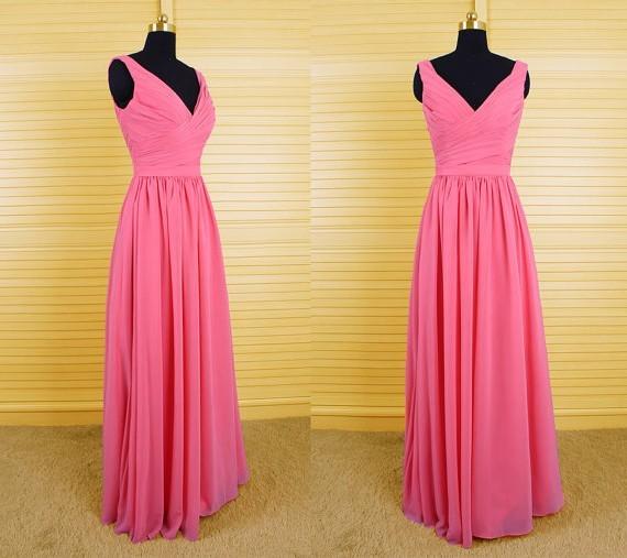 Elegant Sheath V Neck Long Hot Pink Chiffon Ruched Wedding Guest Bridesmaid Dress