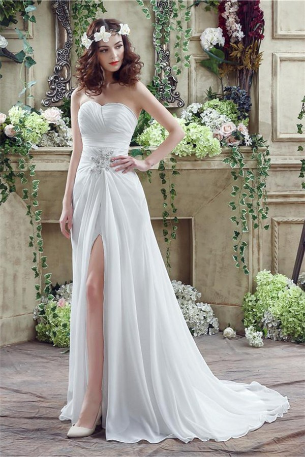 Destination Wedding Dresses.Elegant Strapless Sweetheart High Slit Chiffon Destination Beach Wedding Dress