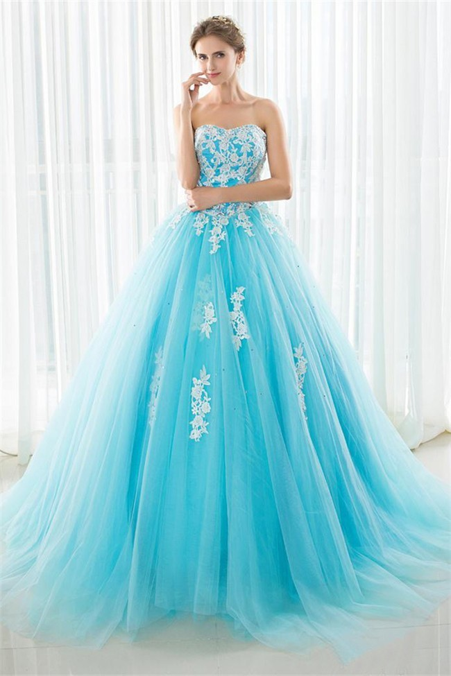 Fairy Ball Gown Strapless Turquoise Tulle Lace Beaded Prom
