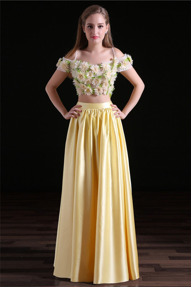 variety styles of 2019 wide range factory price Fairy Off The Shoulder Yellow Satin Two Piece Prom Dress With Flowers