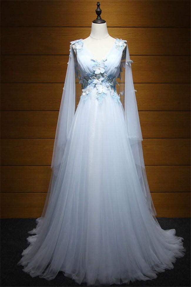 Fairy Princess V Neck Low Back Light Blue Tulle Butterfly