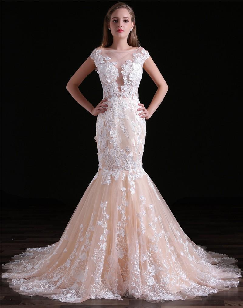 Fantastic Mermaid Bateau Illusion Neckline Sleeved Champagne Tulle Lace Wedding Dress