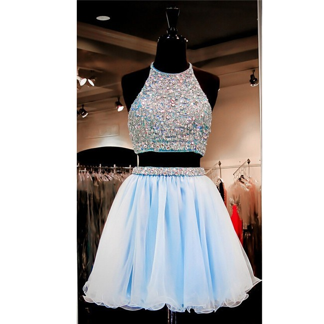 0a69f2ff4bf3b Fashion A Line Halter Two Piece Short Light Blue Tulle Beaded Prom Dress