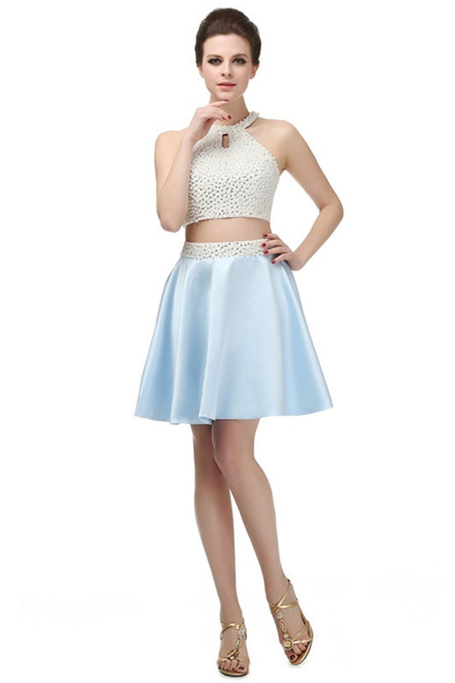 ba228e4fad81b Fashion Halter Two Piece Cutout Back Short Light Blue Satin Pearl Prom Dress