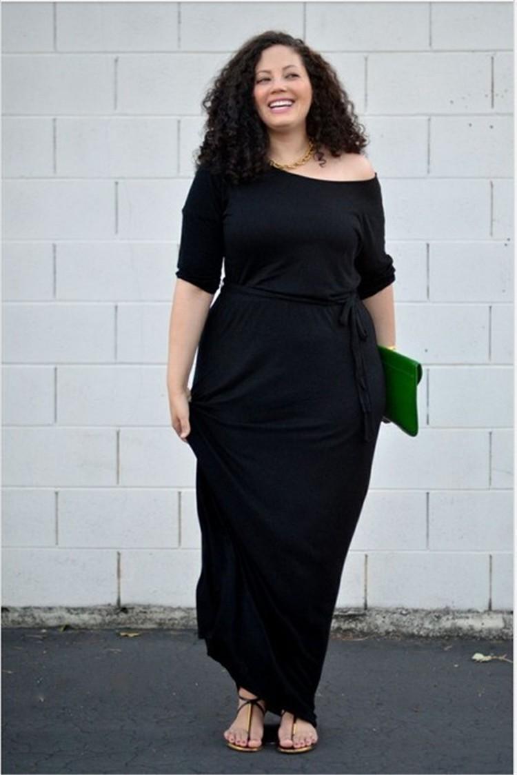 Fashion Long Black Spandex Sleeve Plus Size Women Dress With Sash