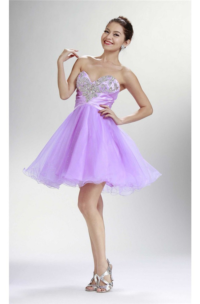 Fashion Strapless Short Lilac Tulle Beaded Cocktail Tutu