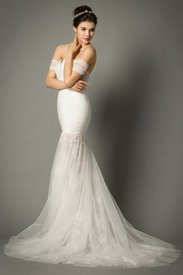 Fitted Mermaid Sweetheart Corset Back Lace Wedding Dress With Straps