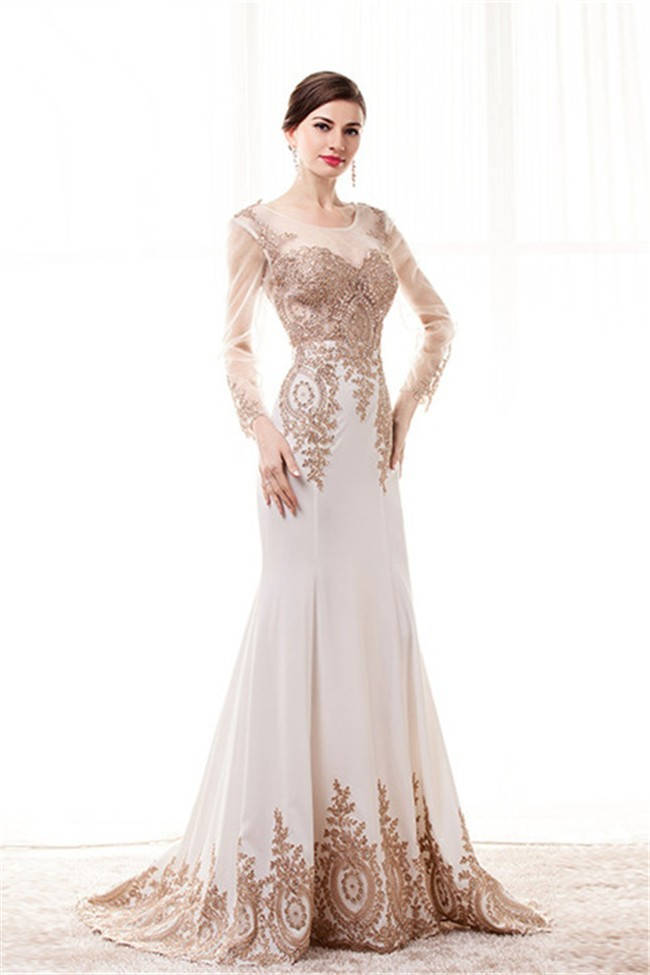 Ed Scoop Neck White Satin Gold Lace See Through Prom Dress With Sleeves