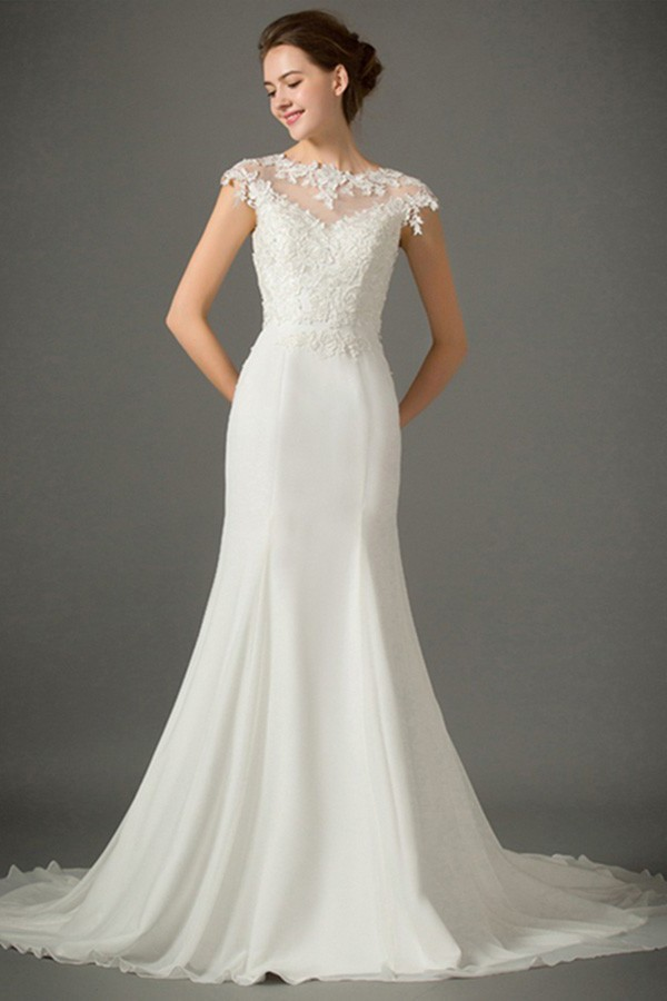 Fitted Trumpet High Neck Cap Sleeve Sheer Back Lace Chiffon Wedding Dress