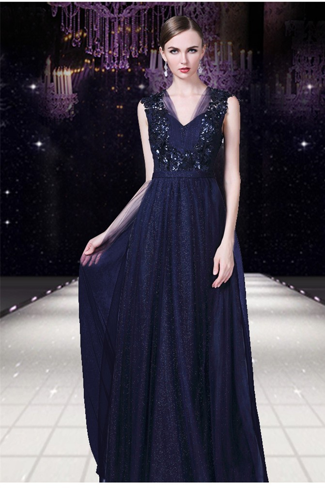 Formal A Line V Neck Open Back Long Navy Blue Tulle Lace Evening Prom Dress