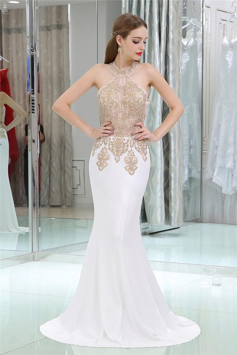 Gorgeous Sheath Halter White Satin Gold Lace Formal
