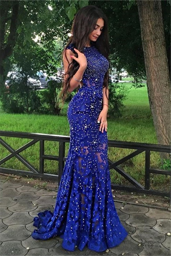 Gorgeous Sheath Open Back Royal Blue Lace Sparkly Prom Dress