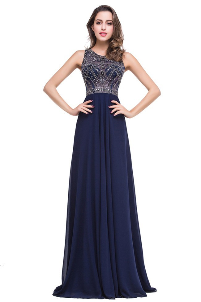 aca30d748ab9 Gorgeous Sheath Scoop Neck Long Navy Blue Chiffon Beaded Prom Dress