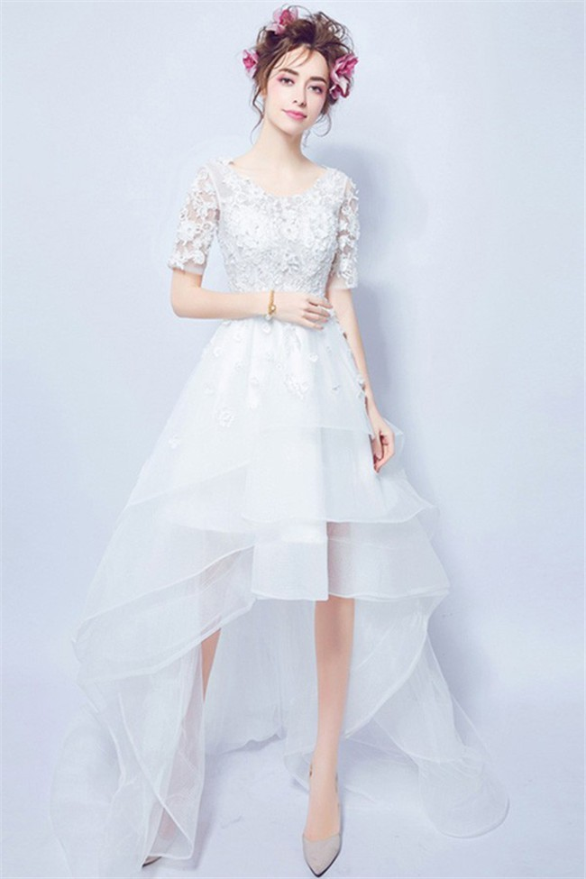 High Low Short Lace Sleeve Organza Ruffle Outdoor Beach Wedding Dress Corset Back